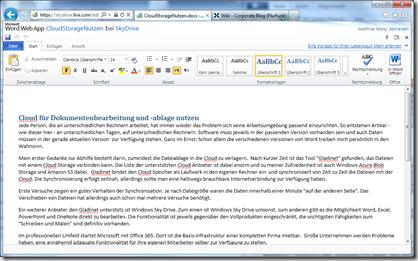 Bearbeitung einer Word Datei in Windows Sky Drive